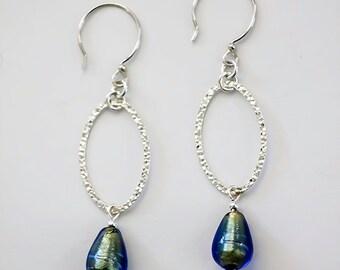 Teardrop Light Sapphire Gold Foil Venetian Glass Lampwork with Sterling Oval Earrings, Sterling Oval Earrings, Teardrop Fashion Earrings