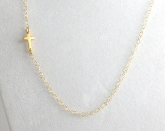 Vermeil 24k Gold Sideways Cross Necklace,14k Gold Filled,Off Center,Tiny,Small,First/1st Holy Communion Gift,Confirmation,Religious,Wedding