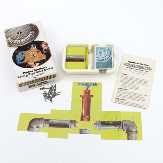 Waterworks leaky pipe card game parker brothers by ailorsattic for Leaky pipe carries more water