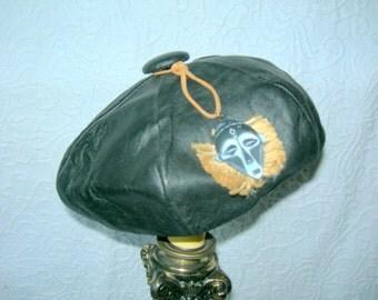Vintage Black Leather Beret/Tam w/African Style Embellishment