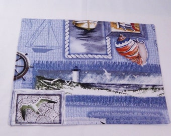 Nautical Placemats, Snack Mats, Mini Placemats, Lunch Mats, Set of Two, Made in USA