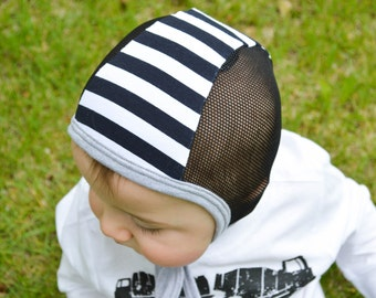 Baby pilot hat, black stripe with mesh panels hearing aid hat, toddler hat, hat with ties, hearing impaired cap, baby shower gift, snug hat