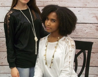 Womens Lace Dolman Top - Only White Available!