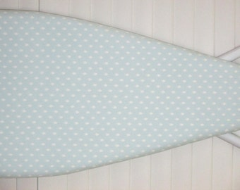 Ironing Board Cover - Standard size - Light Baby Blue - White Dots - Laundry Room