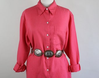 SALE - Vintage 80s Bright Salmon Pink Womens Linen Artist Work Shirt