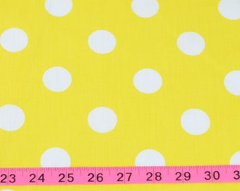 Yellow with White Polka Dot Cotton Fabric For Cute Dresses and Many Sewing Projects
