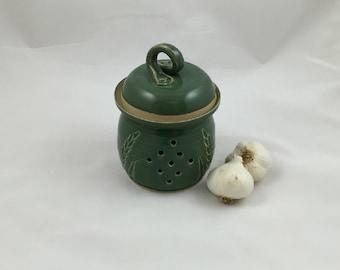 Wheat Garlic Jar in Leaf Green Handmade Pottery by Daisy Friesen
