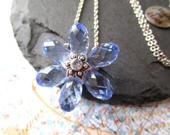 Swarovski Crystal Flower Necklace, Blue Flower Necklace, Simple Flower Crystal Necklace, Bridesmaid Necklace, Bridesmaid Jewelry, Wedding