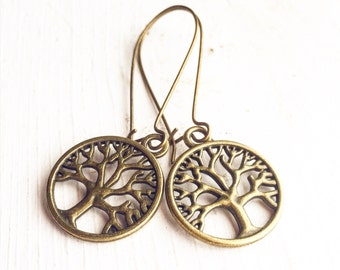 Tree of Life Earrings / Nature Lover Gift Boho Bohemian Fall Wedding Bridal Party Gifts Favors / Long Renaissance Festival Costume Dangly