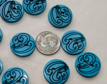 25 Blue Buttons, Black Wind Buttons 17.5 mm  Grab Bag Crafting  (Ar 9)