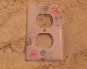 Suzanne's Custom Ordered set of 6 Shabby Cottage Chic Hand Painted Pale Rose With Blue Floral Electrical Outlet Covers