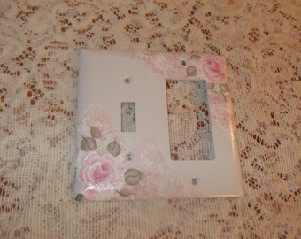 Shabby Cottage Chic Hand Painted Pale Rose Combo Light Switch And Rocker Switch Cover