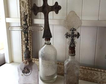 "Vintage cross bottle 20"" display old salvaged handmade"