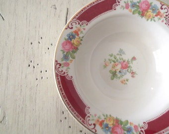 Vintage Homer Laughlin Berry Bowl Brittany Majestic Pattern Maroon Band Shabby Cottage