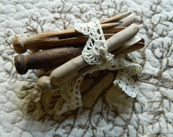 Vintage Wooden Clothespins Random Lot tied with Vintage Trim