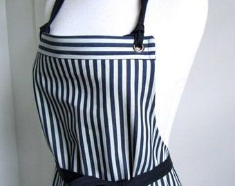 Full Apron Woman Denim Apron Indigo Stripes  Cook Apron  Chef Staff Apron Custom Apron