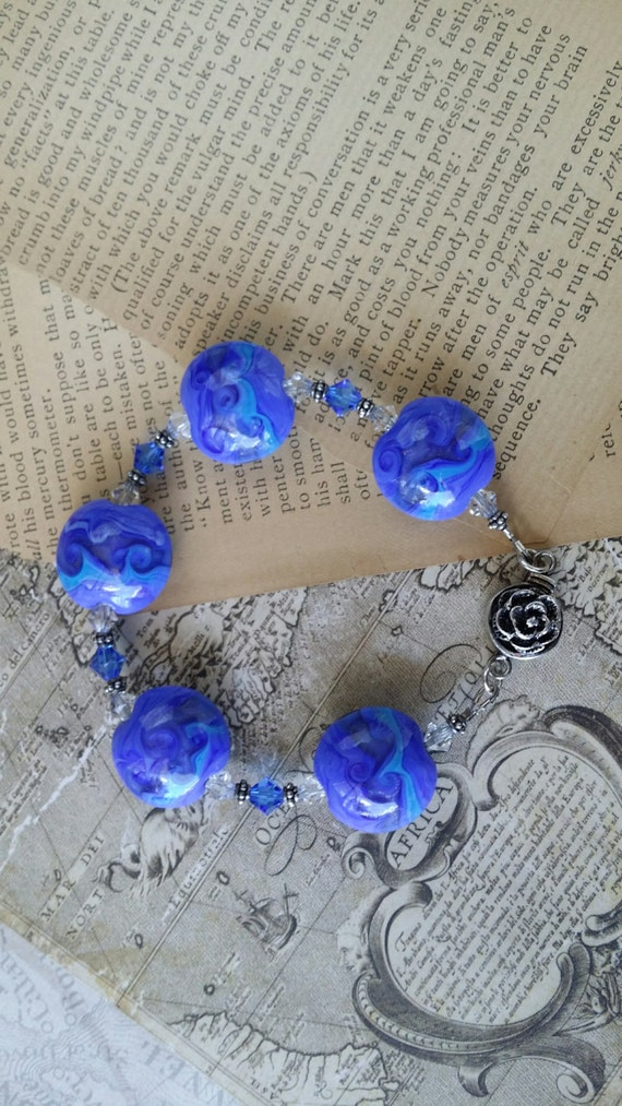 Beautiful Blue Lampwork Beaded Bracelet with Rose Clasp