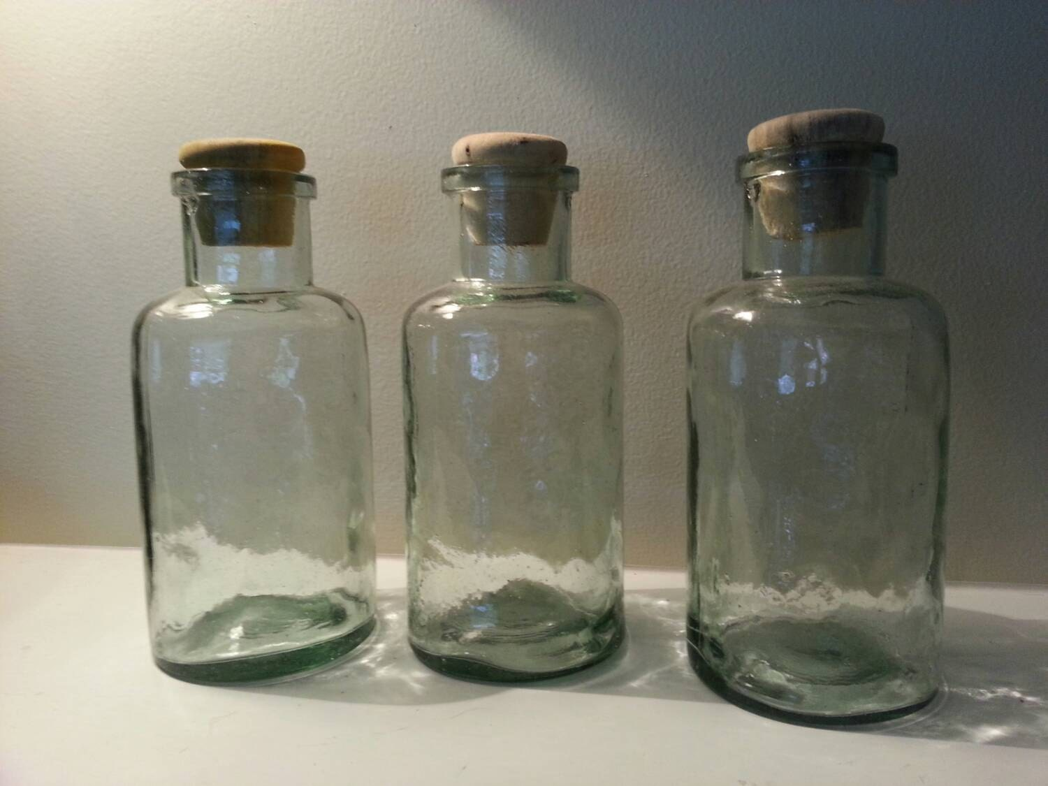 Large green glass bottles vases bath salt jars set of three for Bathroom bottles