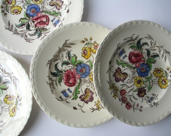Vintage Vernonware Mayflower Luncheon Plates Set of Four