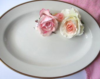 Vintage Serving Platter Grindley Gold White  - Classic Style