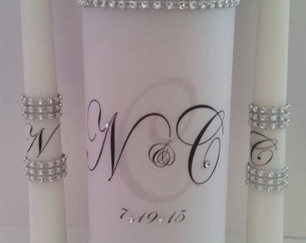 Custom Bling Wedding Unity Candle set with Rhinestones
