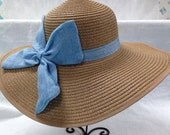 Monogrammed floppy hat sun hat natural blue bow