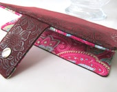 Handmade women wallet - Burgunfy faux tooled leather clutch - floral paisleys - Custom order - vegan wallet