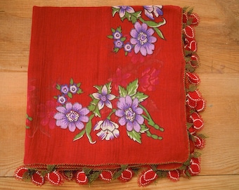 turkish scarf with needle lace edging, red