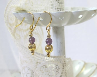 Genuine Amethyst Earrings, Gold-Plated Earwires, Civil War or Victorian Appropriate - Affordable Elegance