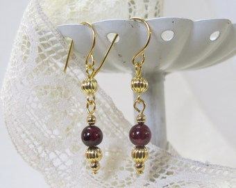 Genuine Garnet Drop Earrings, Gold-Plated Earwires, Civil War Appropriate - Affordable Elegance
