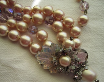 Vintage De Mario Signed Double Strand Necklace; Faux Pearl and Crystal