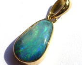 Australian Boulder Opal 18kt Gold Pendant Natural Stone from Australia Rainbow White Pin Fire Small Petite Dainty Size Perfect Birthday Gift