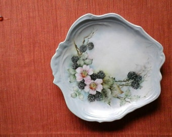 So Sweet Antique BlackBerry and Floral Porcelain Tray