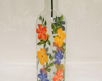 Oil Decanter, Oil bottle, oil bottle with flowers, soap dispenser, oil dispenser, kitchen decor, glass oil bottle, glass container
