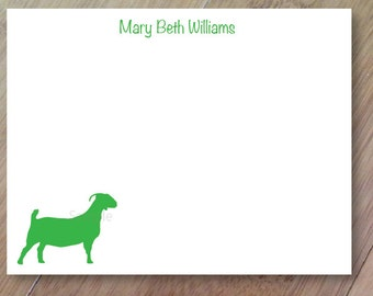 Boer Goat Stationery, Personalized Blank Flat Note Cards, Set of Printed 10 ANY COLOR