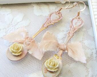 Earrings in Soft Peach - Pretty in Peach Earrings - Spoon Earrings - MOH Earrings in Pale Peach - Shabby Style Earrings