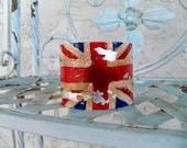 SALE Grunge cuff bracelet, British  English gift, union jack flag jewelry, wrist cuff distressed cuff Red white and blue, flag bracelet cuff