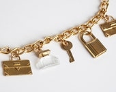 Vintage 90s Gold CHAIN Belt Necklace / 90s Lucite Perfume Bottle Charms, xs s