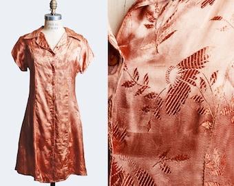70s METALLIC COPPER Mini Dress / 1970s Brocade Shirt Dress, s m