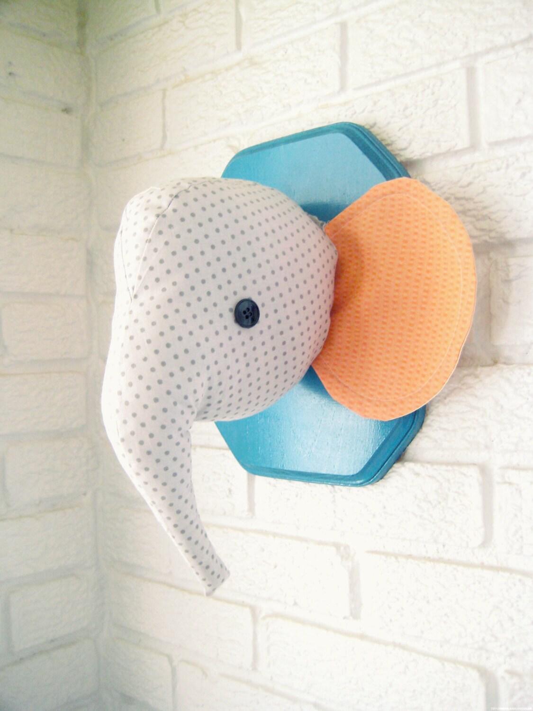 Custom Elephant Plush Wall Mount Whimsical Nursery Decor