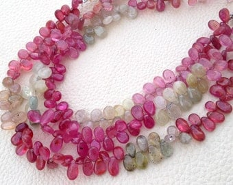 Full 8 Inch Strand,Brand New, Amazing Item Natural MULTI SAPPHIRE Smooth Pear Shape Briolettes,7-8mm, Superb Item