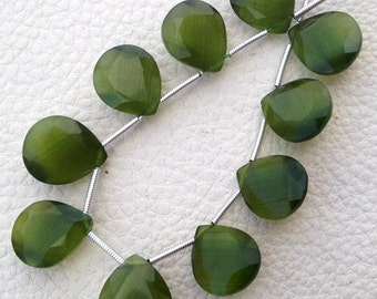 Brand New, EXCLUSIVE, 4 Matched Pairs, Chrome Green Cat's Eye Quartz Faceted Cut Heart, 12x14mm Size,Amazing Shiller Quartz
