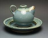 Handcrafted olive oil dipping set/ewer/cruet and dish 2375