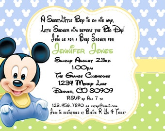 mickey mouse baby shower invitations  etsy, Baby shower