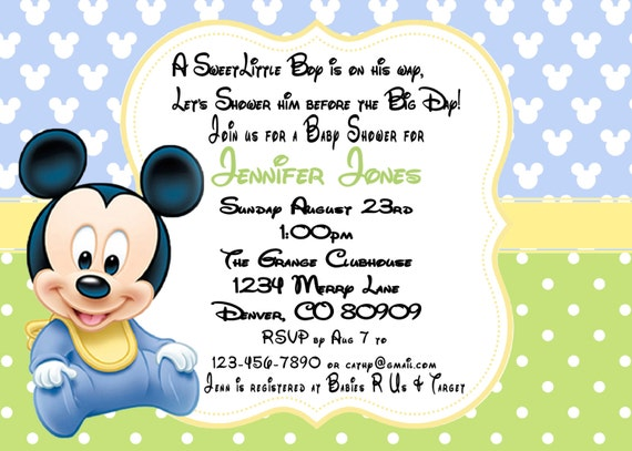 Mickey mouse baby shower invitation printed with envelopes 15 by a il570xn filmwisefo