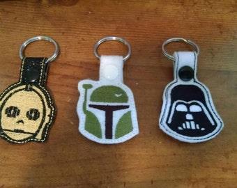 Star Wars Keychain or Zipper pull Darth Vader StormTrooper, Boba