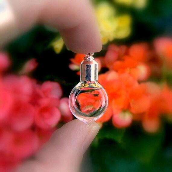 SMALL HEART Vials w/ screw caps (empty/glass/miniature/pendants/charms/bottles/little/tiny/clear/flat/handblown/hearts/tops/lids)