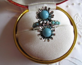 Vintage Faux Turquoise Flower Pattern Adjustable Ring