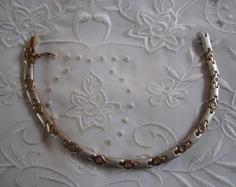 Vintage Gold and Silver Tone Link Bracelet with Small Clear Faceted Rhinestones