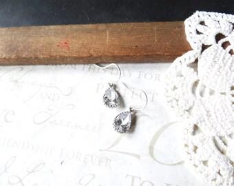 GLASS SLIPPER cinderella dangle drop crystal sparkle earrings in silver nickel free sensitive ears bridal wedding